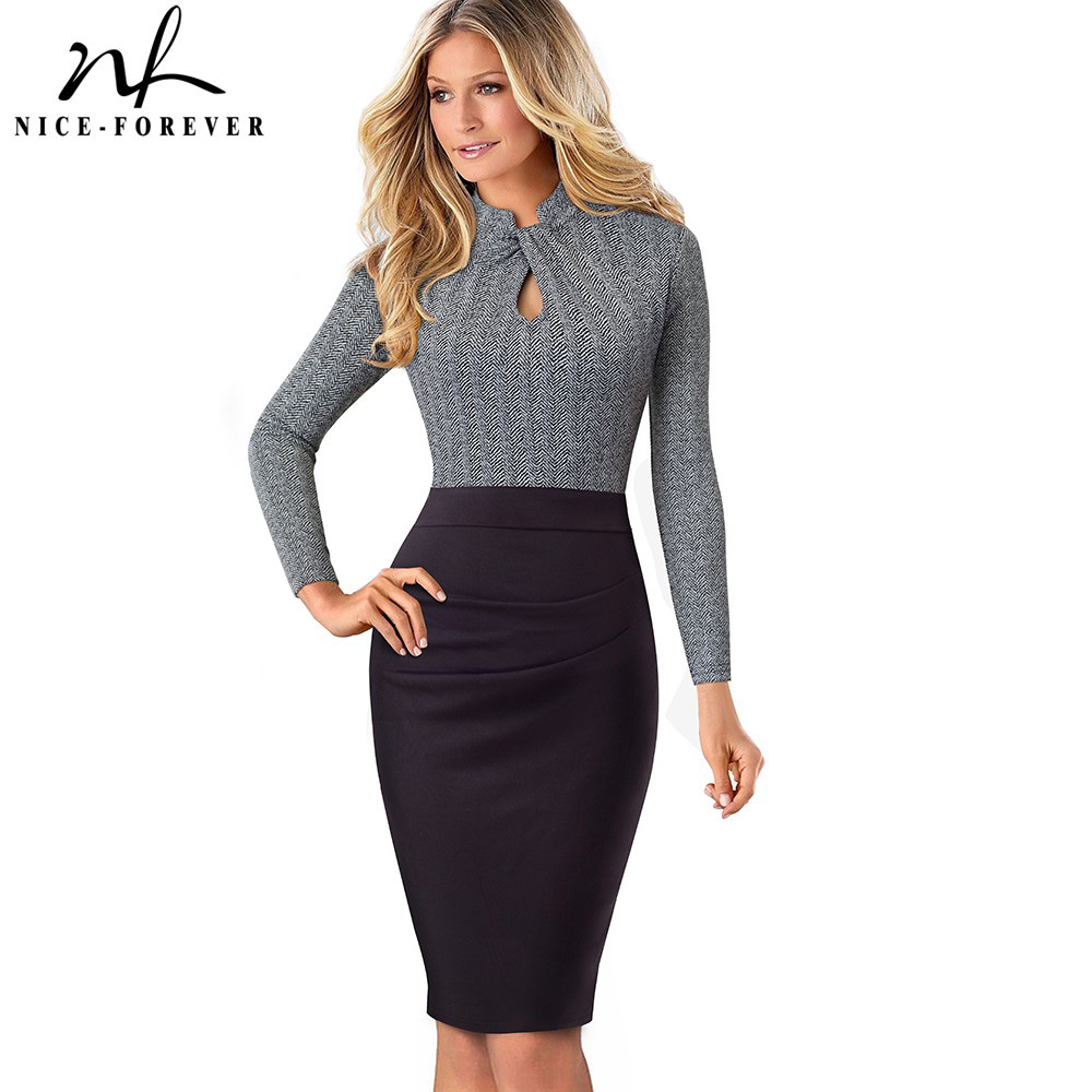 Nice-forever Vintage Stand Collar Wear To Work Patchwork Long Sleeve Vestidos Business Party Bodycon Women Office Dress B475