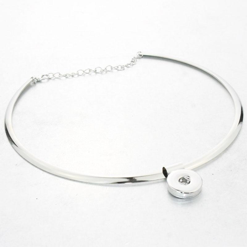 Snap Šperky Dámské klasické torques 18mm snap tlačítko náhrdelník boho bohémské náhrdelníky & přívěsky Unisex DIY šperky