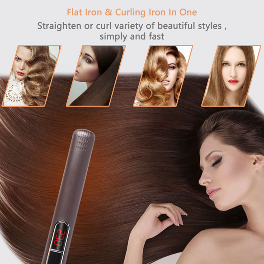 MADAMI Dual Voltage Wet Dry Hair Flat Iron Plancha Flacheisen MCH Titanium Ceramic Hair Straightener Keratin Treatment Flat Iron (7)