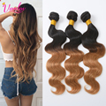 Ombre Human Hair Malaysian Virgin Hair Malaysian Body Wave 4 Bundles Ombre Color T1b/27 8A Grade Body Wave Ombre Hair Extensions