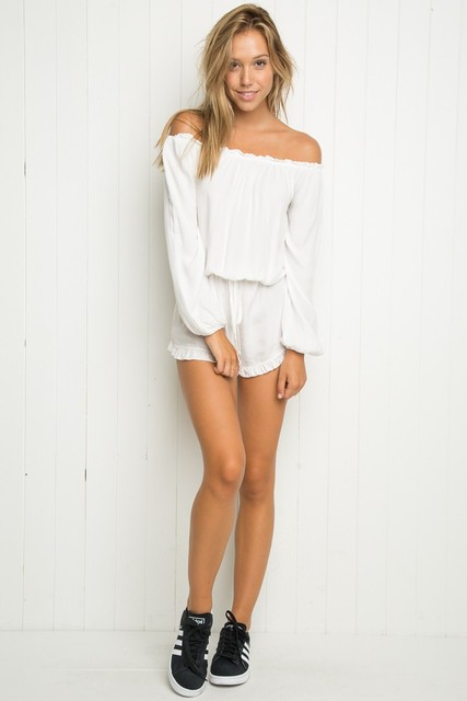 fa3b68f14be0 Boho Off Shoulder Jumpsuit Shorts New Summer Jumpsuit Women Sleeve Off The Shoulder  2 Colors Sexy