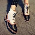 Nuevos Botines de Estilo británico Punta Redonda Mediados Talón Patchwork Mujeres Botas de cuero Zapatos de Otoño de Moda Mujer Botas de Lluvia Botas Mujer