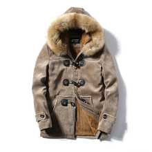 jaqueta masculina thick men Plus velvet jacket male Deer skin leather couple hooded winter jackets