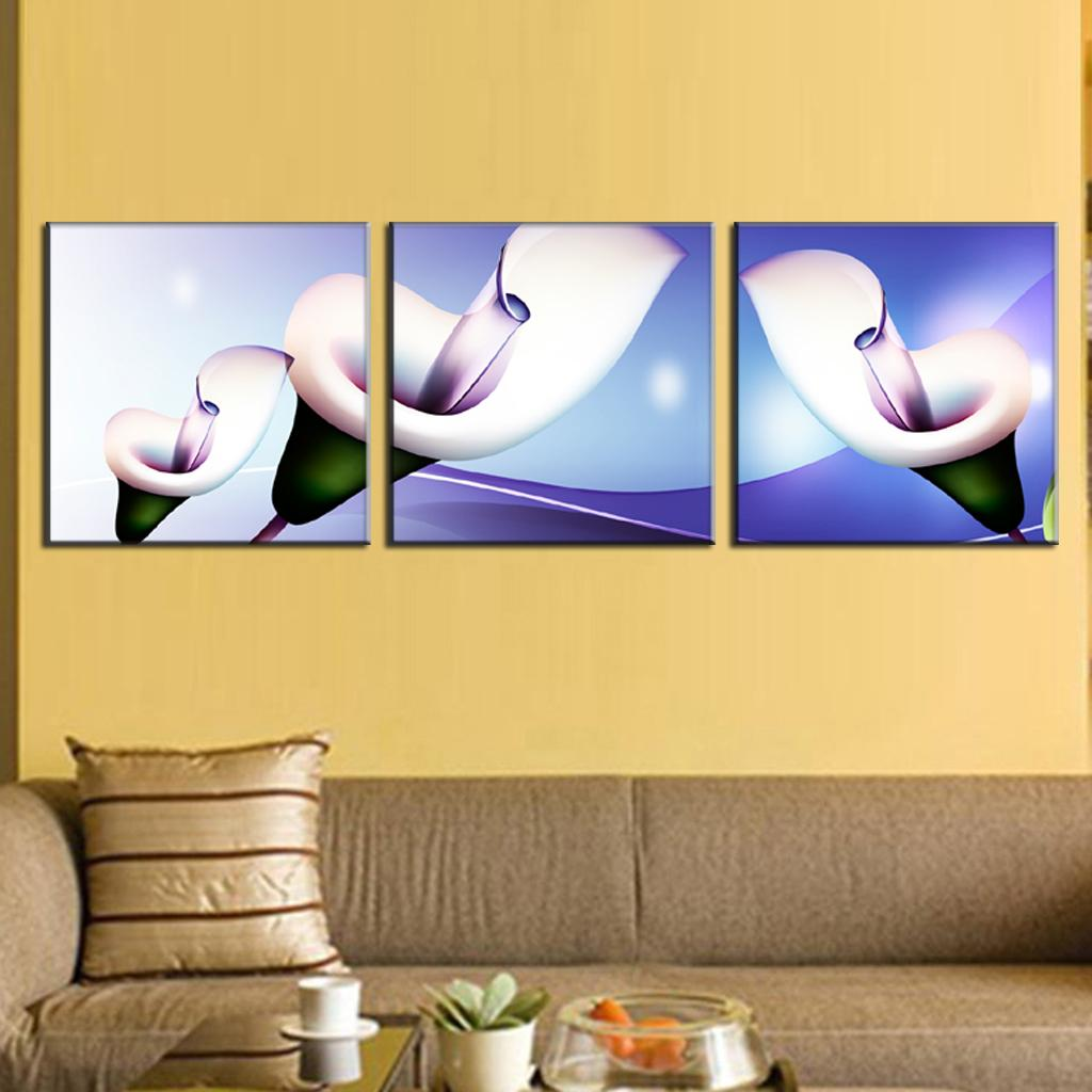 3 Pcs/Set Abstract Canvas Wall Art Paintings with Frame Glass Calla ...