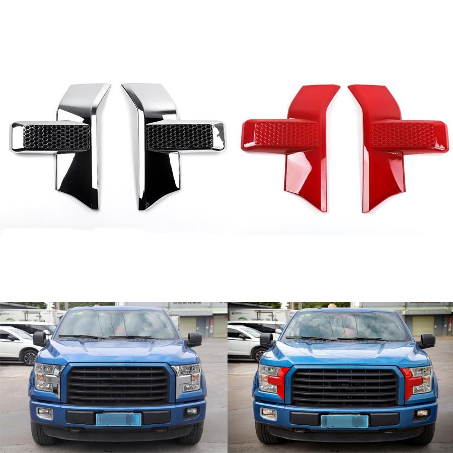 YAQUICKA 2 unids/set lámpara de luz delantera del coche parrilla frontal ajuste de la cara del bisel de estilo etiqueta de la cubierta para Ford F150 2015 + Accesorios de coche