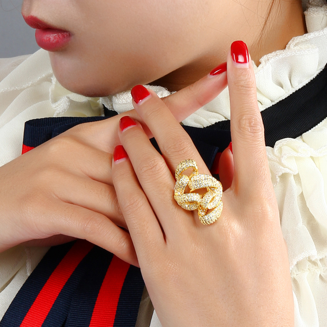 Unique Rings with AAA+ CZ Stone Finger Ring High Quality White Gold & Gold Color Party Rings For Women Jewelry