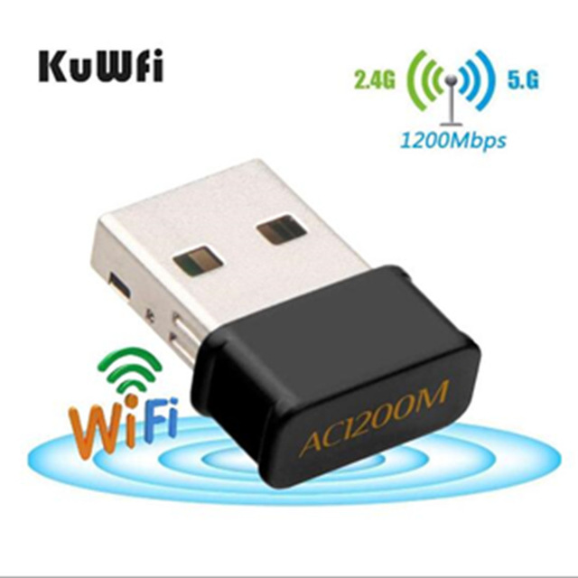 KuWfi 1200Mbps Mini USB Wifi Network Card Dual Band Wifi Adapter 2.4G/5.8GWireless AC Adapter For WindowsXP/Vista/7/8/10 Mac OS(China)