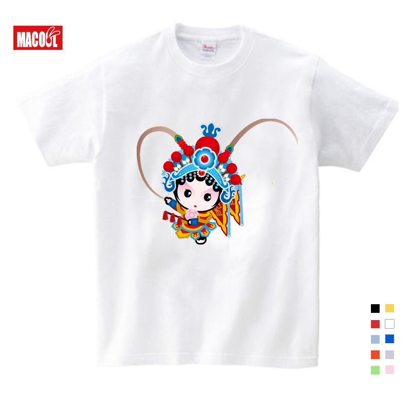 Beijing Opera girls tops chinese style t Shirt Theodore Costume kids costume Free Shipping Cartoon TShirt Summer Send in T Shirts from Mother Kids