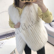 ETHEL ANDERSON Women's Real Fox fur Vest Open stitch Style Ladies Fur Waistcoat Spring Winter Warmer Cardigan Outwear Coat(China)