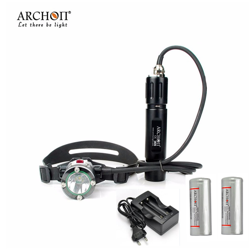 Diving Headlamp Archon DH25 WH31 1000 lumens Cree XM-L U2 Canister Snorkeling Scuba Diving Headlight With Batteries + Charger archon dh25 wh31 1000 lumens cree xm l u2 canister snorkeling scuba diving light