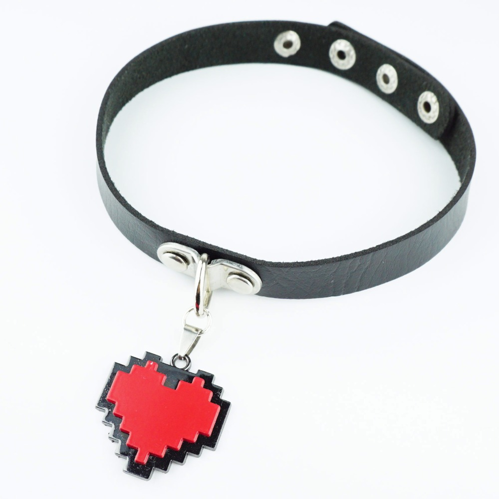 Mode Firsk amour rouge Chokers collier noir PU en cuir cou sangle collier Cosplay pour mignon fille femmes cadeau