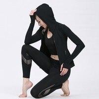 Running Sports Wear For Women Gym Training Suit Female Long Sleeve Outwear Hoody Jacket Leggings Tracksuit Jogging Set Black