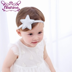 Nishine Children Girls Silver Star Headband Newborn Hairdbands Gold Star Hair Accessories Star Halo Headwear Photo Shoots