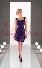 2014 Fashion Strapless Sheath Mini Purple Satin Ruched Bridesmaid Dresses Vestido Pra Madrinha Cheap Party Gowns Saia Feminino