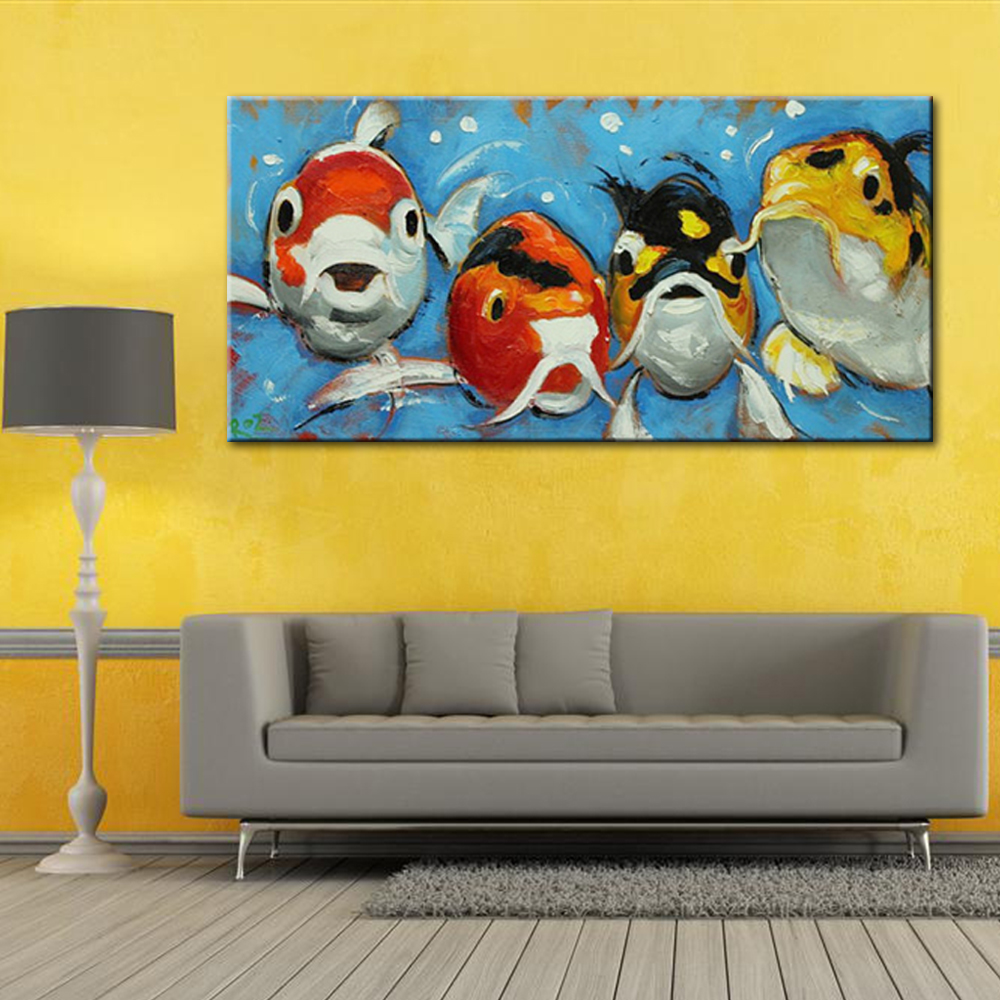 Four Cute Goldfish Oil Painting Modern Large Wall Canvas Art for ...