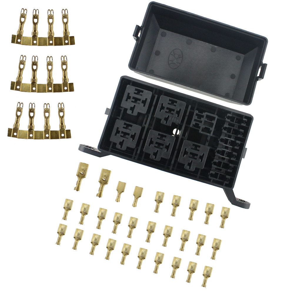 12 slot relay box 6 relays 6 blade fuses fuse relay box. Black Bedroom Furniture Sets. Home Design Ideas