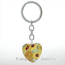 Famous artist Vincent Van Gogh Sunflowers artwork heart pendant keychain vintage watercolor painting photo key chain ring HP108(China)