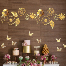 Glitter Gold/Silver Hollow Butterflies Wall Stickers Decals Flower Leaves Hanging Home Poster Kids Rooms Wedding Decoration