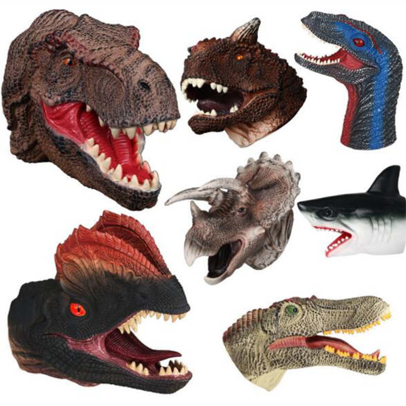 High Qualitity Large Soft Rubber Realistic Dinosaur Toys Hand Puppetst Simulation Figure Perfect Christmas Gift Finger Toys Hand puppet