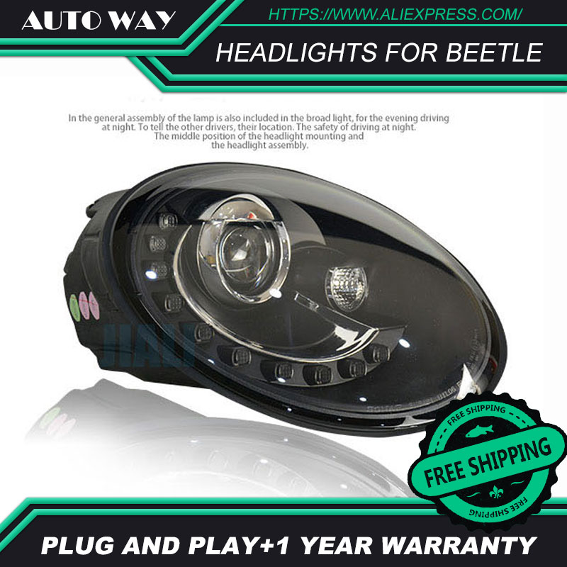 Car Styling Head Lamp case for VW Beetle 1998-2013 Headlights Beetle LED Headlight H7 D2H Hid Angel Eye Bi Xenon Beam car styling head lamp for chevrolet cruze headlights cruze led headlight revo led drl h7 d2h hid option angel eye bi xenon beam