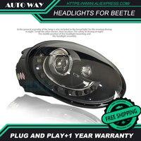 Car Styling Head Lamp case for VW Beetle 1998 2013 Headlights Beetle LED Headlight H7 D2H Hid Angel Eye Bi Xenon Beam