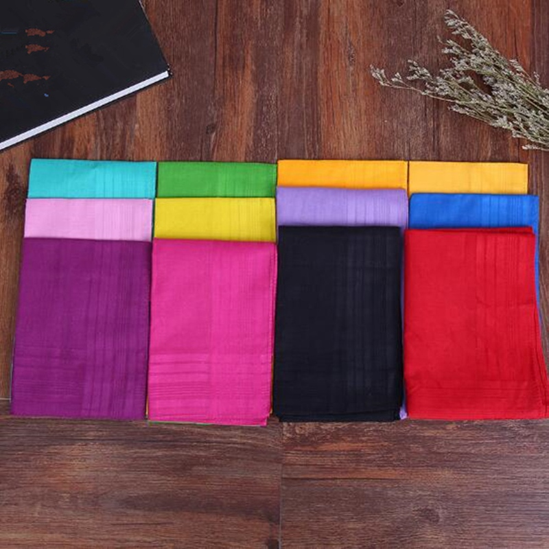 1Pcs Womens Ladies Cotton Printed Soft Handkerchief Solid Color Hankerchiefs Random Color BBB1064