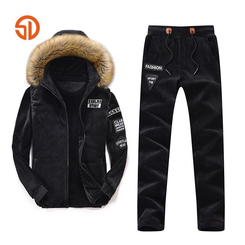 Joggingg Suit Hoodie Set Men M 2XL 2017 Autumn Winter Mens Tracksuit 3 Pieces Set Hoodie