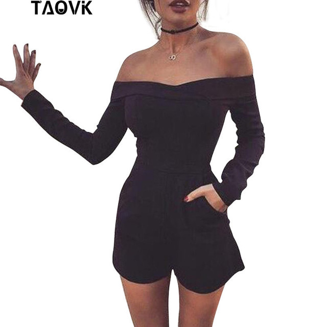 TAOVK new fashion Women Rompers and Jumpsuit strapless Solid Color Summer Shorts