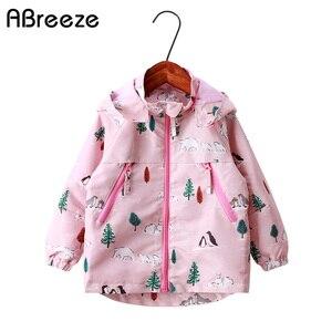 Image 1 - Детские толстовки с капюшоном для девочек 2 9 лет, повседневные ветрозащитные куртки с принтом животных для девочек, весна лето 2019