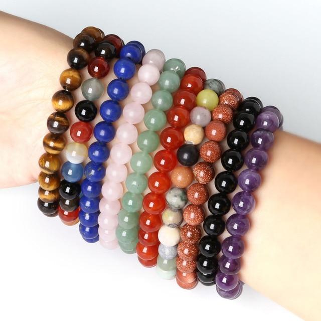 8mm Natural Stone Tiger Eye Carnelian Malachite Rose Quanze Round Beads Stretch Bracelets For Women 19cm