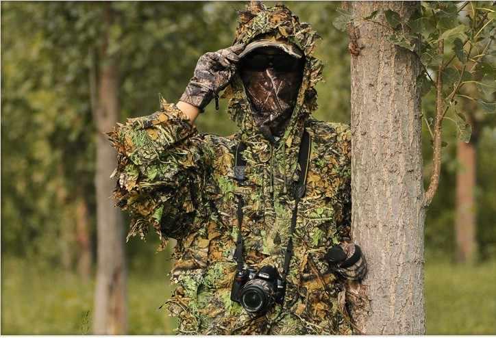 사냥 의류 새로운 3d 메이플 리프 생체 공학 ghillie 정장 yowie 스나이퍼 birdwatch airsoft 위장 의류 자켓과 바지