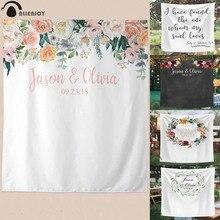 Allenjoy – banderole en tissu pour photographie de mariage, arrière plan de stand Photo personnalisé, motif floral, pour séance Photo