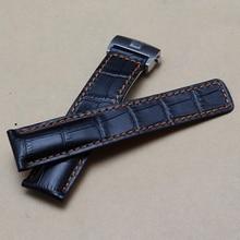 Nuevo diseño de cuero de grano Correa de Cocodrilo Negro inferior y cosido naranja 22mm accesorios reloj de pulsera correa de reloj de la marca