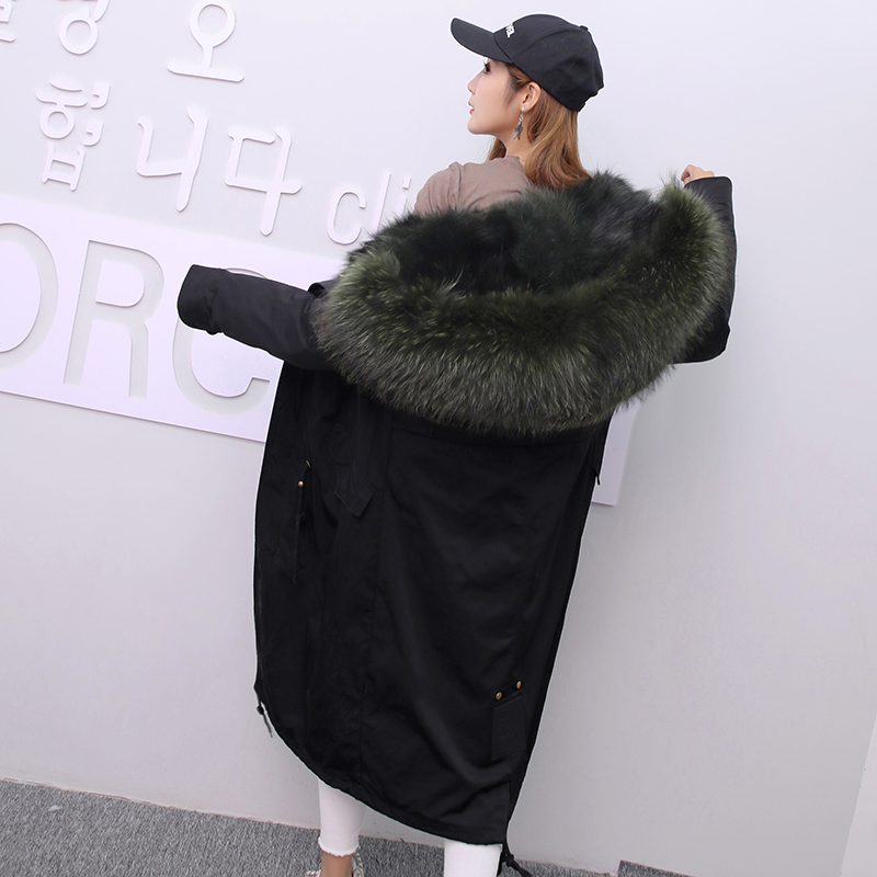 Jacket Women Winter Parkas Long Big Fox Fur Collar Hooded Coats 2018 Ladies Fur Linen Thickened Warm Jackets Plus Size Coat LZ962 (25)