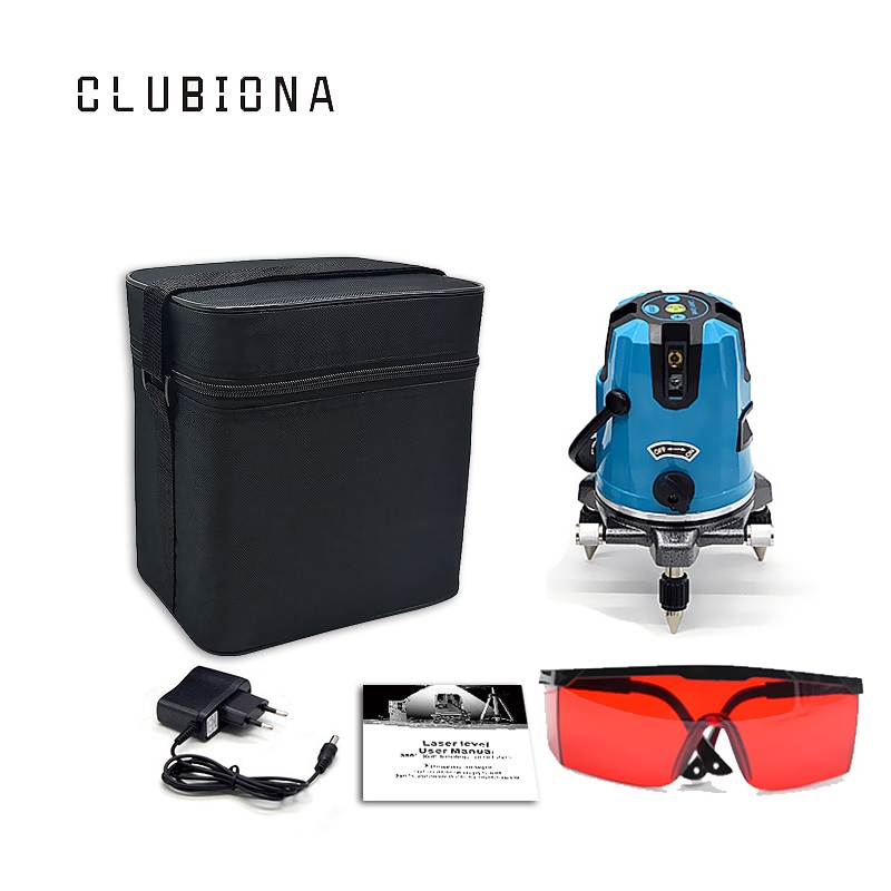 Clubiona high quality laser module 360 degrees rotary self leveling slash functional cross 5 lines outdoor