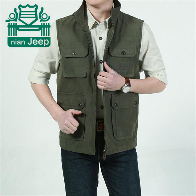 Nian AFS JEEP Four Pockets dad Cargo Vest For Man,Wholesale Price Man's Motorcycle Overall Waistcoat 100% Cotton Jacket