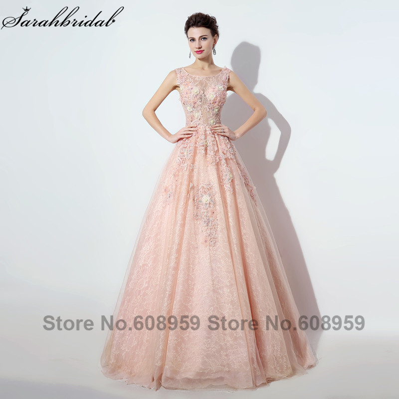 2017 Abendkleider Lace Ball Gown Long Evening Dresses Real Photo Crystal Handmade Flowers Party Gown Robe De Soiree LSX069