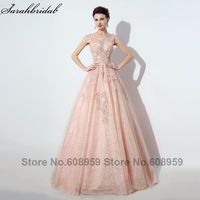 2016 Abendkleider Lace Ball Gown Long Evening Dresses Real Photo Crystal Handmade Flowers Party Gown Robe
