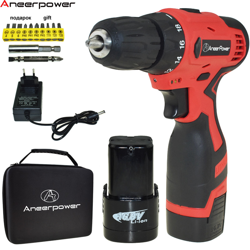 16.8v Double Speed Electric Drill Cordless Drill Battery Drill Power Tools Mini Electric Screwdriver Batteries Screwdriver free shipping brand proskit upt 32007d frequency modulated electric screwdriver 2 electric screwdriver bit 900 1300rpm tools