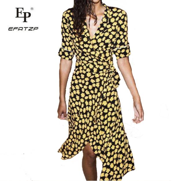 Imprimé Robe Vintage Jaune Efatzp Midi D'été Ete Floral Noir 2018 Robes Dames Femme Femmes Wrap EYDe2WH9I