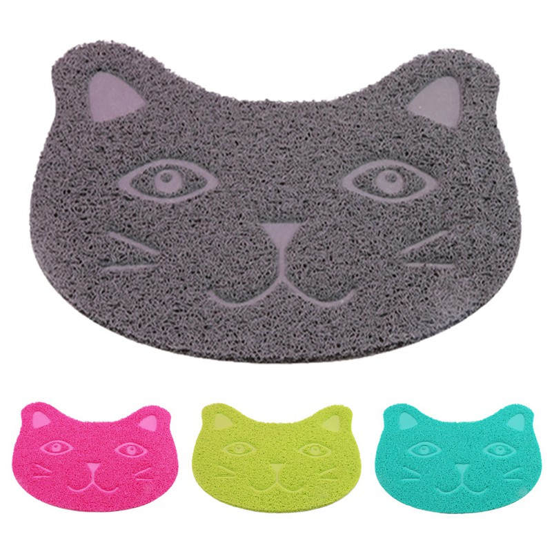 Pet Cat Toilet Mat Pvc Waterproof Kitten Cute Cat Face Pattern Cat Litter Trapper Easy Cleaning Mat For Home Pet Cat Supplies