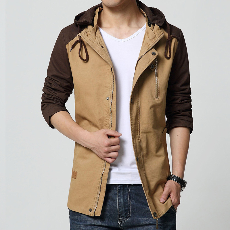 Online Shop 4XL 2015 New Mens Jacket Long Style 100% Cotton With ...