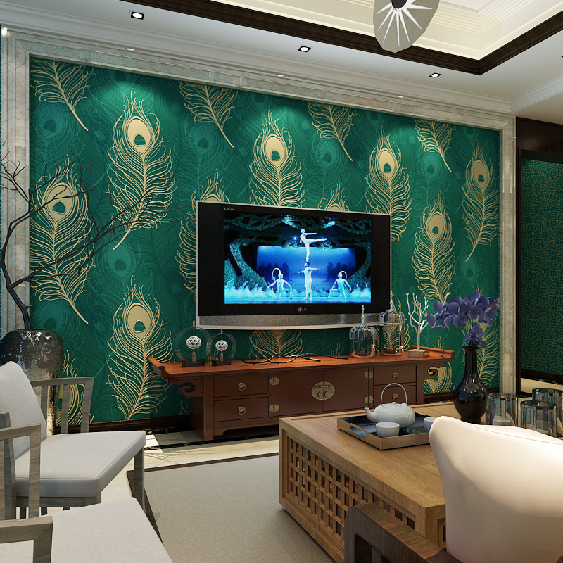Modern Non Woven Feather Wallpaper Home Decor for Bedroom Walls Peacock Green Blue Khaki Stereoscopic Wall Mural Contact Paper non woven bubble butterfly wallpaper design modern pastoral flock 3d circle wall paper for living room background walls 10m roll