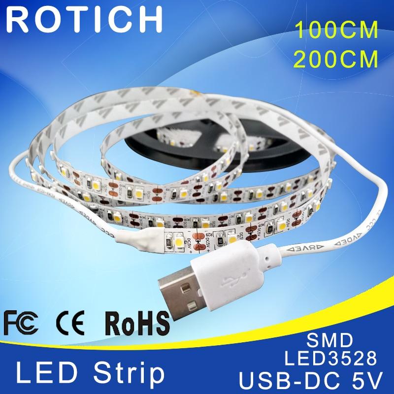LED strip 1 m 2 m usb ha condotto la luce di striscia 5 v 3528 smd rgb caldo/bianco freddo flessibile tv sfondo di illuminazione