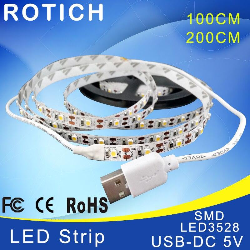 LED strip 1 m 2 m usb ha condotto la luce di striscia 5 v 3528 smd rgb caldo/<font><b>bianco</b></font> freddo flessibile tv sfondo di illuminazione