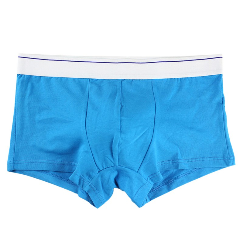 Breathable Men Boy Boxer Shorts Soft Cotton Panties Casual Male Underwear 3 Solid Colors ...