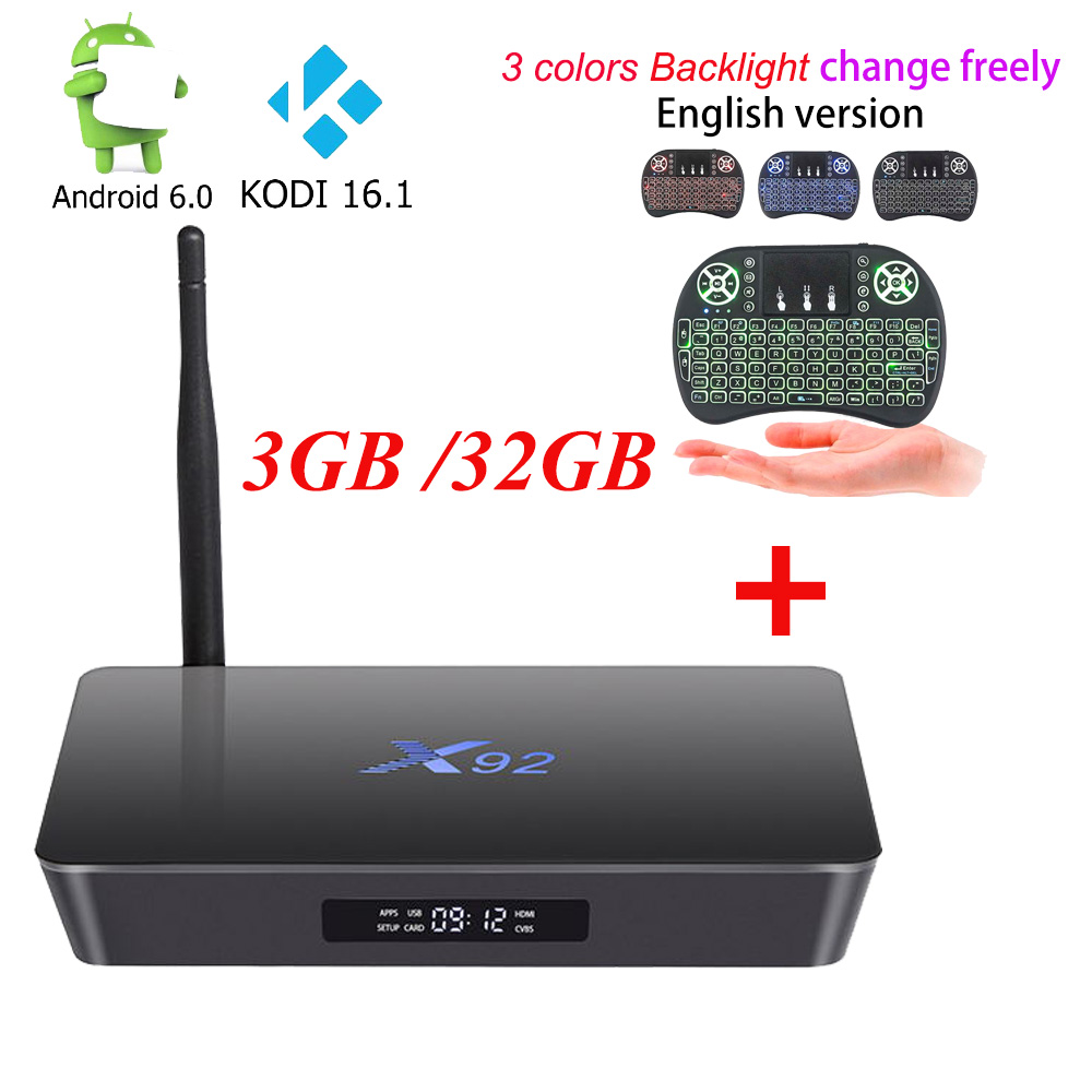 ФОТО [Genuine] X92 2G 3G 16g 32G Android 6.0 Smart TV Box Amlogic S912 Octa Core KD16.1 Fully Loaded 5G Wifi 4K H.265 Set Top Box