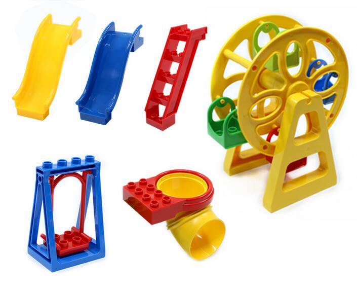 Duplo Amusement Park Large Particle Building Blocks Swing Ferris Wheel Slide Assemble Brick Toys Brinquedos Play House 2018 new brand animal large particle