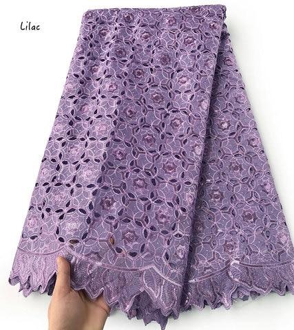 Rendas com Lantejoulas Tecido de Renda Metros Simples Lilás Handcut Organza Furados Africano Grande Vestido Costura Nigeriano Roupas 5