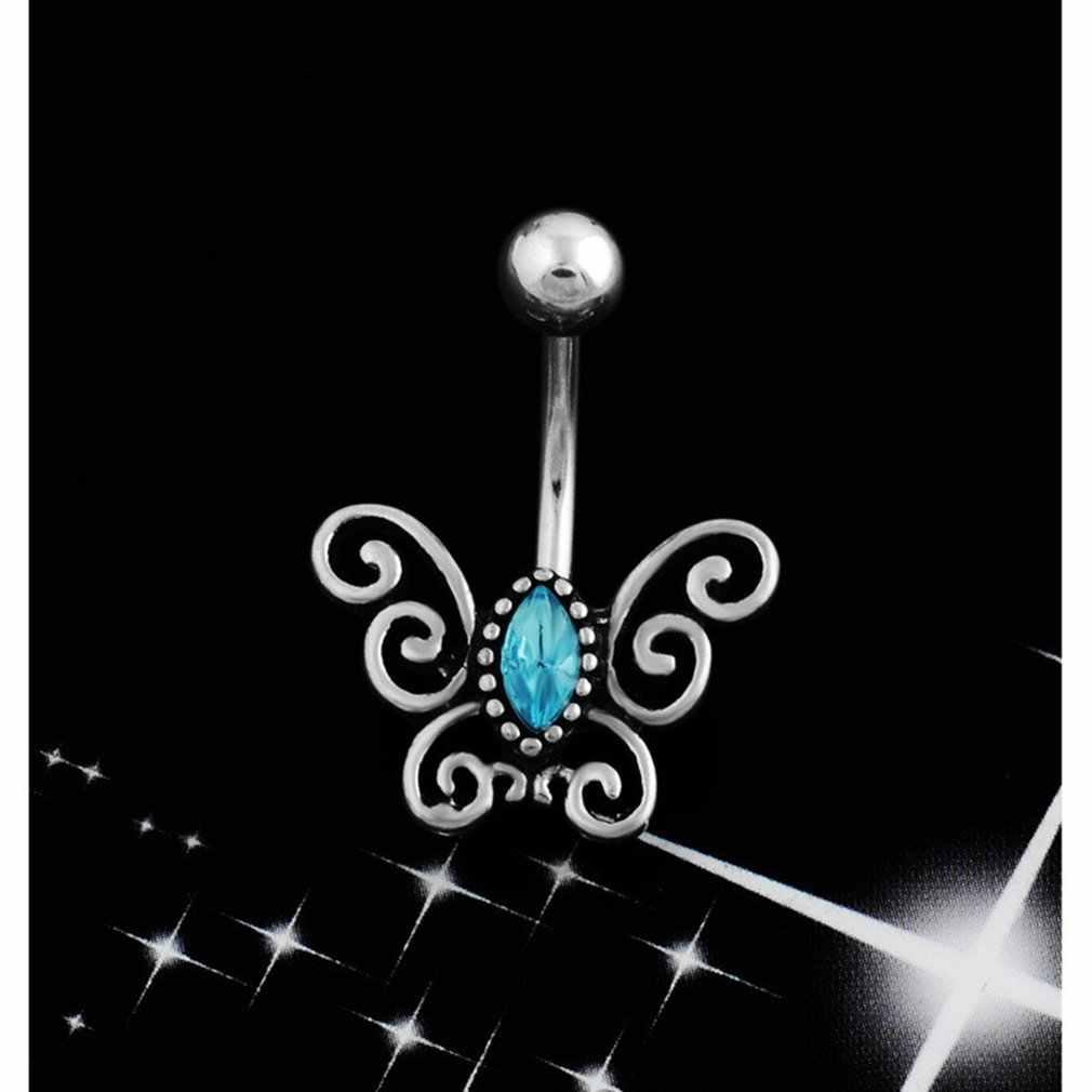 Q01031 יהלומי קריסטל פרפר טבור טבעת קריסטל ריינסטון טבעות טבור פירסינג טבור טבעות תכשיטים